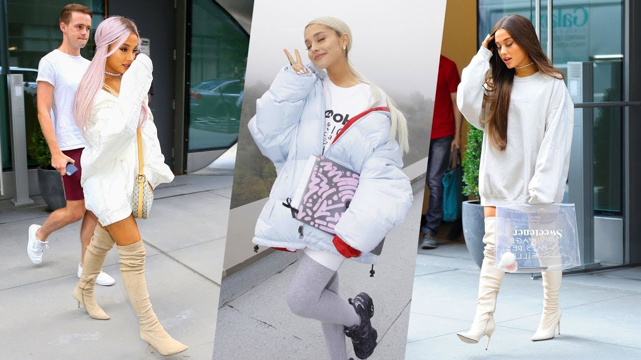 Ariana grandes hairstyle casual style street style outfits 2018