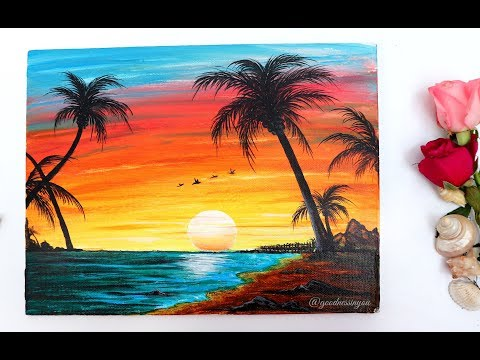 STEP by STEP Sunset Beach Landscape Painting for Beginners Using Acrylic Colours