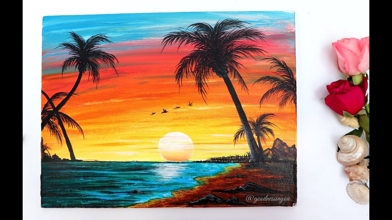 STEP by STEP Sunset Beach Landscape Painting for Beginners ...