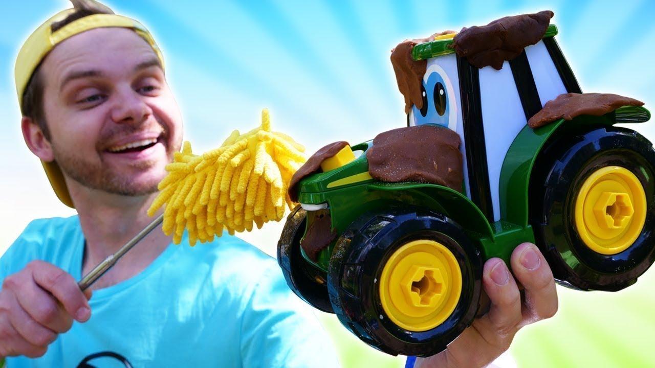 ХэлпМэн отмывает трактор! Мультфильм про машинки для мальчиков