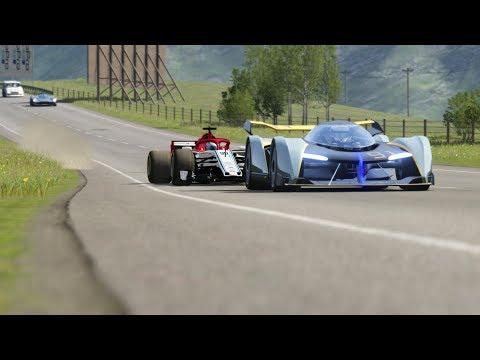 F1 Alfa Romeo '19 vs  McLaren Vision GT vs Aston Martin Valkyrie vs Supervan III