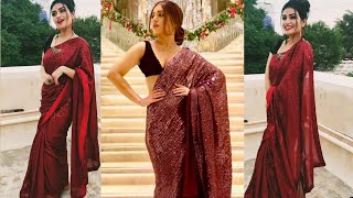 Online Saree Shopping Bollywood Styled Maroon Georgette Sequence Saree review Vastraqueen