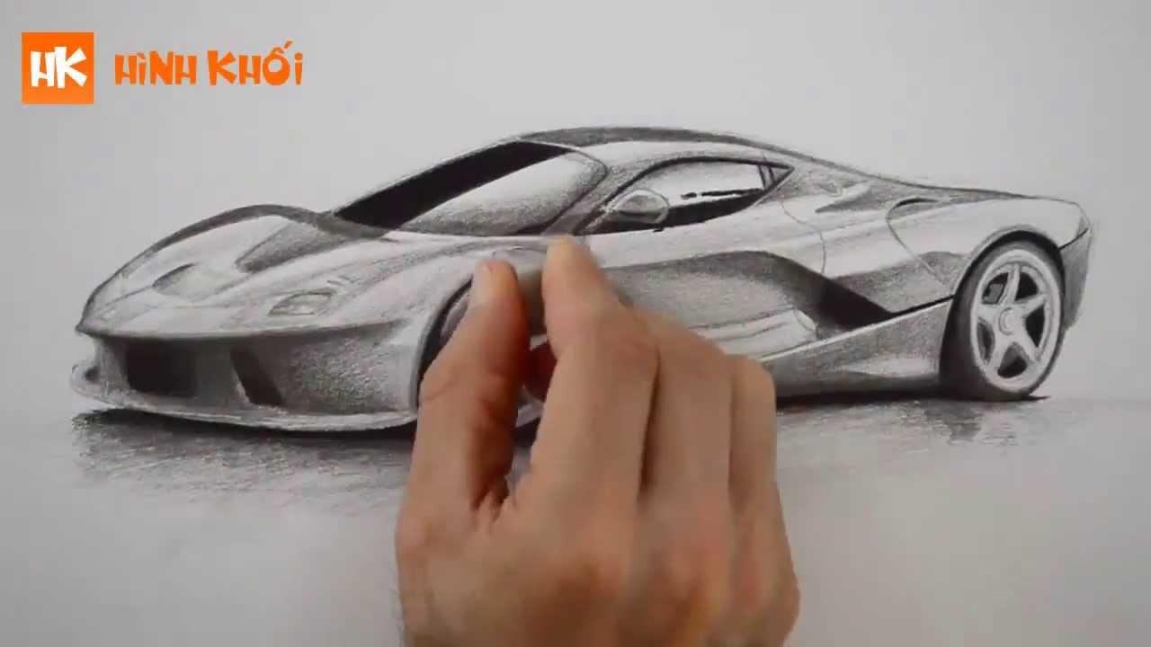 Vẽ chiếc Ferrari tuyệt đẹp - Học vẽ, Luyện thi vẽ khối V, khối H - YouTube