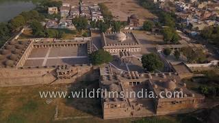 Ganj Baksh tomb and Sarkhej Roza mosque: Aerial view in Makarba, Ahmedabad, Gujarat