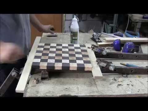 Изготовление торцевой шахматной доски. Материал мореный дуб и бук