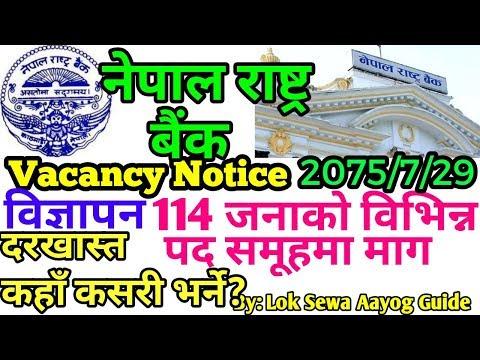 जुनसुकै बिषयमा १२ पासको लागि Vacancy Notice Nepal Rastra Bank नेपाल राष्ट्र बैंकको बिज्ञापन सूचना