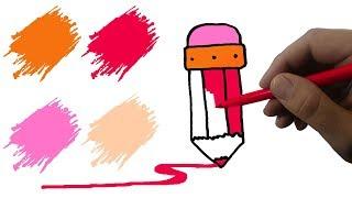 раскраска КАРАНДАШ  Как нарисовать карандаш  Учимся рисовать КАРАНДАШ