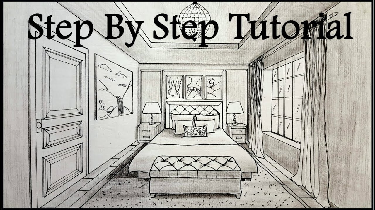 How To Draw A Bedroom In One Point Perspective | Step By Step - YouTube