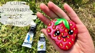 How to paint a cute strawberry -  rock painting