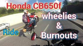 Honda CB650 F ride   Wheelies & Burnouts