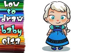 How to draw baby ELSA from Frozen - learn to draw - drawing lessons - coloring pages
