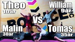 TRAMPOLIN CHALLENGE *Theo och William VS Tomas och Malin*