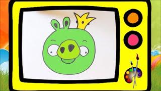Как нарисовать короля свиней Angry birds. Оживающие рисунки / How to draw pig's king. Наше всё!(Сегодня мы нарисуем короля свиней из игры Angry birds! Приготовьте лист бумаги, ручку или карандаш и давайте..., 2016-09-04T14:00:00.000Z)