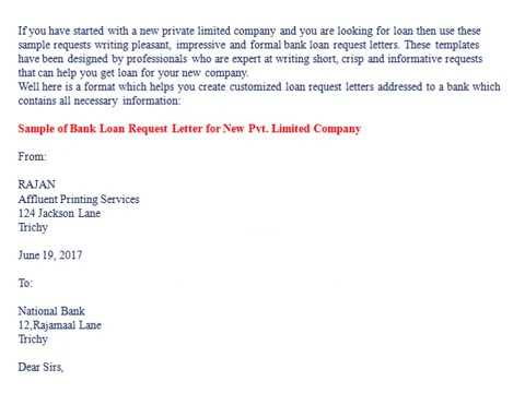 Bank Loan Request Letter