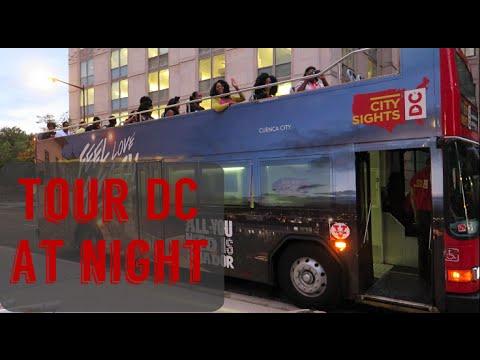 Double decker bus tour of Washington DC at night