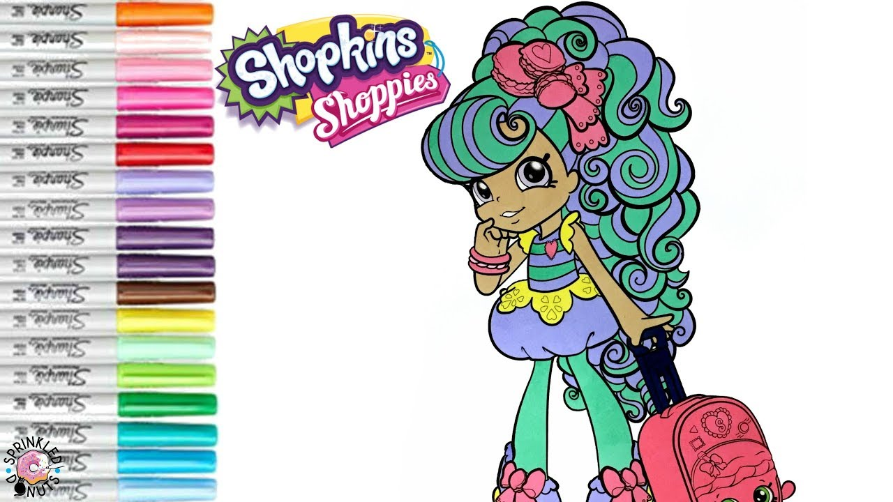 shopkins shoppie coloring book page macy macaron world vacation