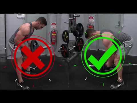T-bar row for back selective workout (right and wrong).