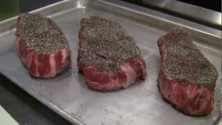 Delta Diner Pepper Encrusted Steak with Pepper Mushroom Sauce   Blue Heron Cooking Class