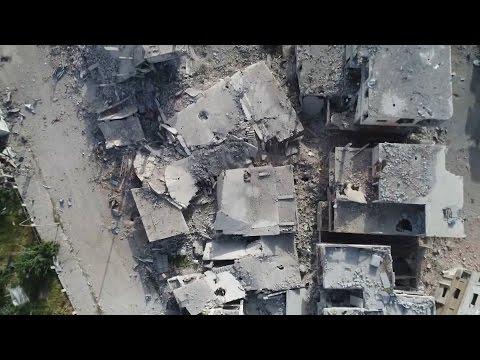 AA, Esed rejiminin yerle bir ettiği Dera'yı havadan görüntüledi