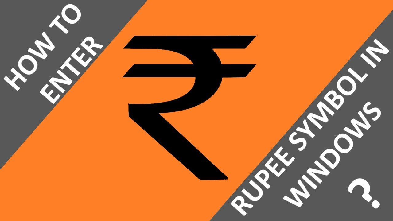 How To Enter Rupee Symbol Using Your Keyboard Technical Toons