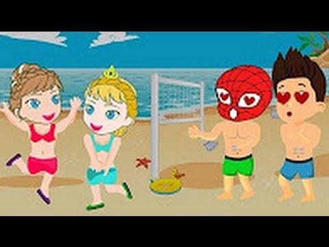 Dibujos Animados Para Niños Spiderman Y Ryder Jugar Voleibol En