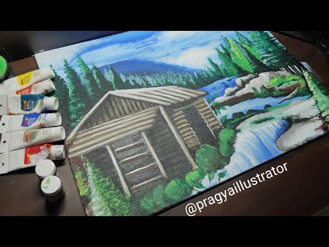 Acrylic Landscape Painting Lesson | Easy canvas painting landscape by Pragya