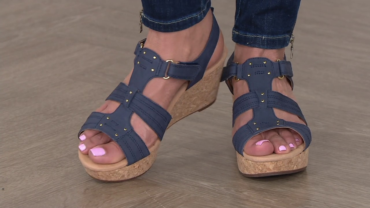 ad8f19cb1dfb Clarks Leather Triple Adjust Wedge Sandals - Annadel Orchid on QVC ...