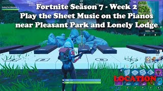 Fortnite Season 7 - Week 2 - Play the Sheet Music on the pianos near Pleasant Park and Lonely Lodge