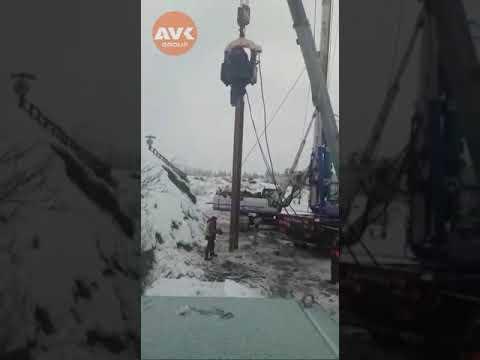 Электрический вибропогружатель на строительстве моста. Точка холода Оймякон.