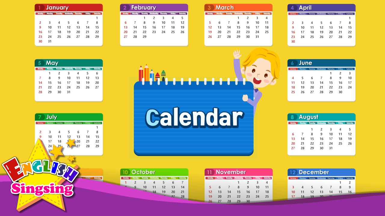 Calendar English : Kids vocabulary calendar months and days learn
