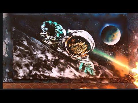 Spaceman all spray paint art