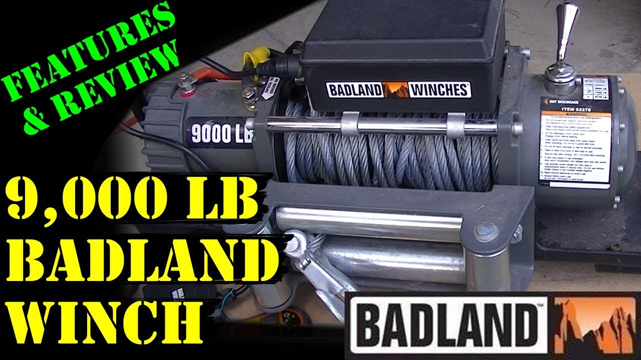 badland 9000 lb winch harbor freight features review  [ 1280 x 720 Pixel ]