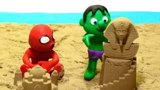 Beach sand sphinx 💕 Superhero Play Doh Stop motion cartoons