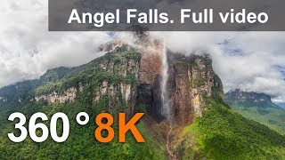 360° Angel Falls Venezuela. Aerial 8K Video