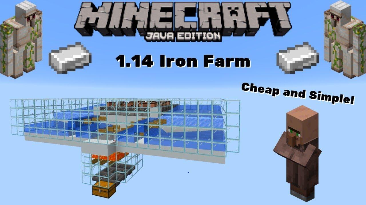 Minecraft 1 14 2 Iron Farm Tutorial Java Edition Cheap Easy 28 Villagers 64 Per Hour Youtube