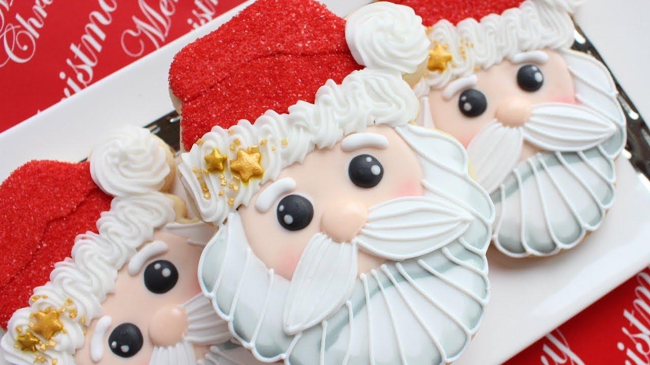 Christmas Cookies Santa Cookies Speaking Step By Step Tutorial Homemade Christmas Gift Idea