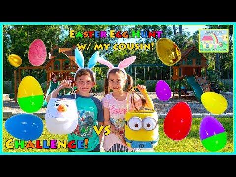 Huge Easter Egg Hunt Surprise Toys Challenge on the Playground for a Giant Golden Egg with my Cousin