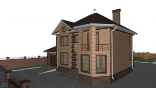 Проект двухэтажного дома на 4 спальни с гаражом   C-193-ТП