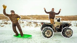 SNOWBOARDING behind My NEW ATV in My BACKYARD!!! (Bad Idea)
