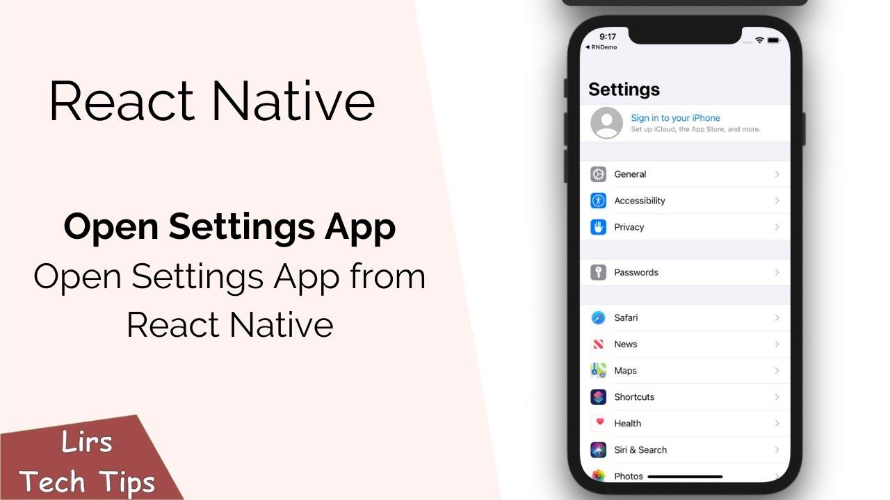 React Native: Open Settings App (Open Settings App from React Native)