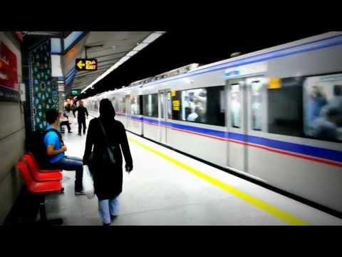 Tehran Metro Station Mosalla - Ein- und Ausfahrt der Teheraner U-Bahn (HD)