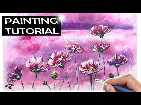 How to paint a Field of Flowers / Acrylic Landscape Painting Tutorial