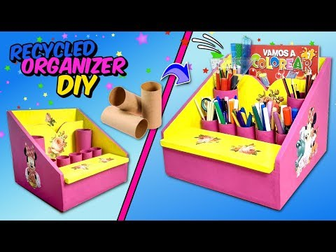 How to make a Stationery Desk ORGANIZER using cardboard   BACK TO SCHOOL DIY