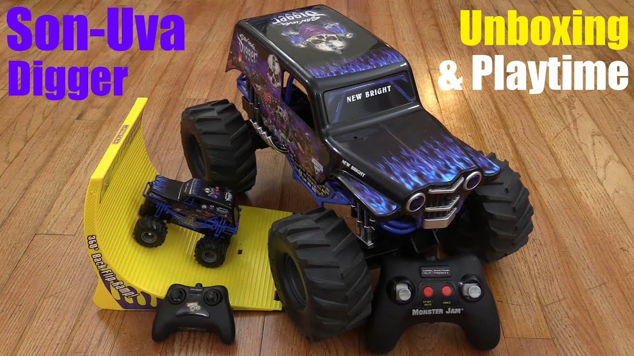 Hot Wheels New Bright RC Monster Jam Truck Son Uva Digger 360 Backflip Set Unboxing