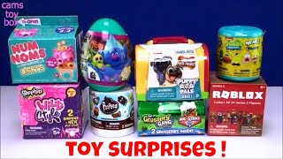 Toy Surprises Num Noms Puppy Dog Pals Poopeez Shopkins Spongebob Mashem Trolls Egg Roblox