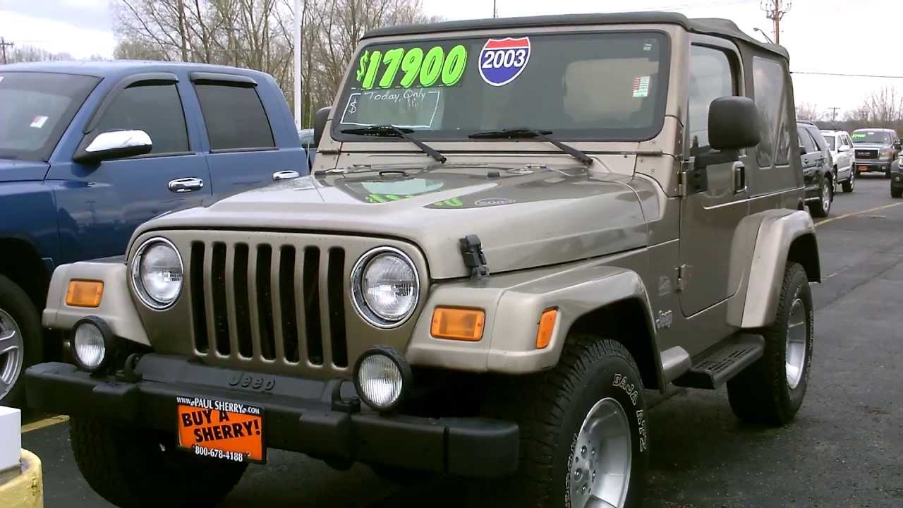 2003 Jeep Wrangler Sahara SUV Tan for sale Dayton Troy Piqua Sidney