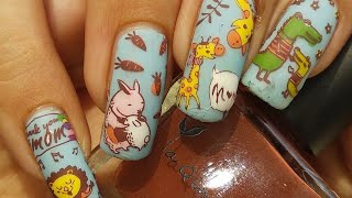 Cute Animal Nail Art Tutorial!!! BornPretty Mother's Day L002 Stamping Plate Review & Demo!