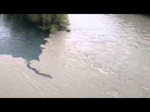 Rencontre entre l'Arve et le Rhône à Genève