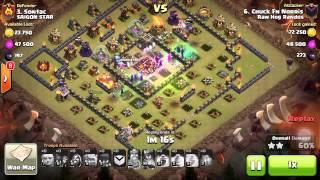 Clash of clans Hocus Pocus 3 Star attack max th10.