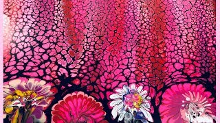 Easy Swipe and Sink Strainer Acrylic Pour Painting Technique / Pretty in Pink  Flower Cells